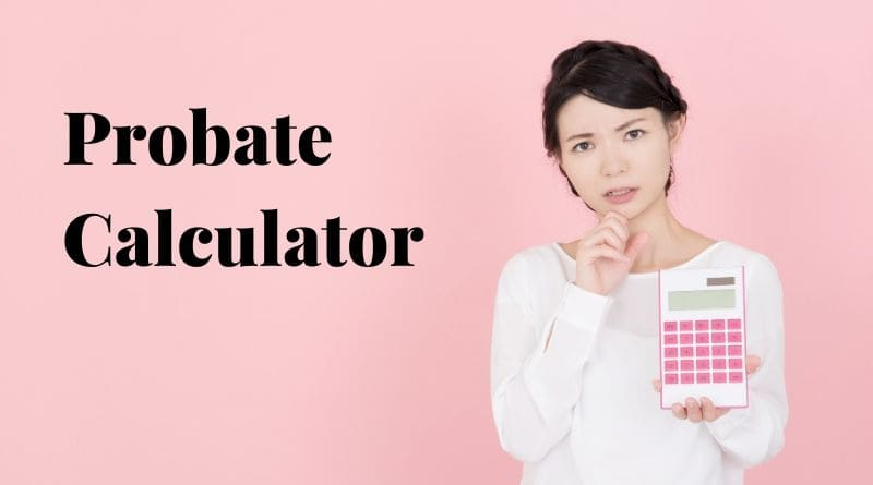 An Asian American lady holding a pink calculator to calculate probate costs